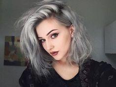 Image via We Heart It https://weheartit.com/entry/165715016 #gray #grunge #lips #makeup #haircolor #graycolor