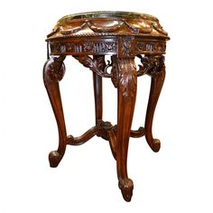Carved Wood Table With Green Marble Top