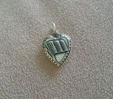 Vintage Sterling Silver American Flag Puffy Heart Charm