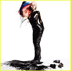 Mermaid Gaga, covered in black paint