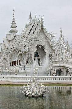 Uncommon Buildings you'd Love - Wat Rong Khun more well-known among foreigners as the White Temple, is a contemporary unconventional Buddhist temple in Chiang Rai, Thailand. It was designed by Chalermchai Kositpipat in 1997.