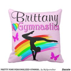 PRETTY PINK PERSONALIZED GYMNASTICS PILLOW Calling all Gymnasts! Enjoy the best selection of personalized Gymnastics Home Decor from Zazzle.  Not available in stores! http://www.zazzle.com/mysportsstar/gifts?cg=196751399353624165&rf=238246180177746410   #Gymnastics #Gymnast #Gymnastgift #Gymnastgirl #PersonalizedGymnast #GymnasticsDecor