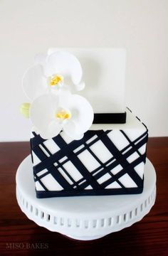 Orchids / black white striped cake by Miso Bakes