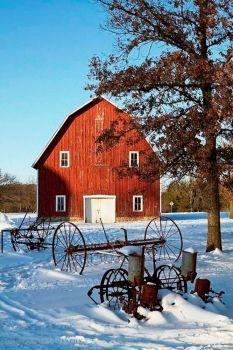Red Barn, Old Farm Equipment