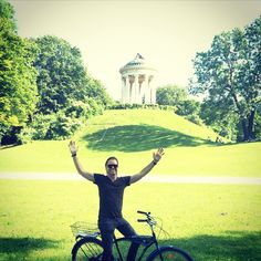 drewshirley: Riding...at the Chinese Tower...in the English Gardens...in Munich...it's confusing. Anyways, Munich, Germany had the best bike ride through gardens of my life. Cheers to everyone I met here!! Thanks!