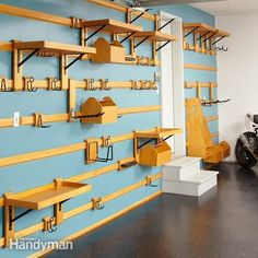 Organize your garage and cut the clutter with this garage storage system that you can easily customize to fit any space and can hold just about anything. You can quickly move hooks, shelves and bins around to find the most efficient arrangement. And the entire system is inexpensive and easy to build. You only need two power toos: a circular saw and a drill.
