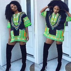 Black and Lime Colorful African Dashiki Shirt Only $15