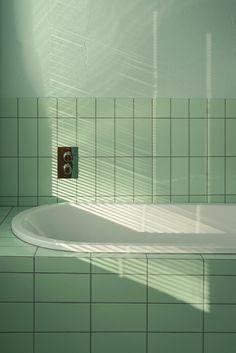Green bathroom - photography by interior architect Tekla Evelina Severin Diy Bathroom, Bathroom Interior, Bathroom Green, Slate Bathroom, Bathroom Colors, Bathroom Remodeling, Bad Inspiration, Bathroom Inspiration, Photo Wall Collage