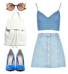 """Button Front Skirt"" by foto-io ❤ liked on Polyvore featuring Mansur Gavriel, River Island and SO"