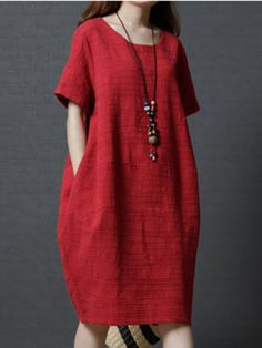 Women Plus Size Plain Cocoon Casual Linen DressBuy Shirt Dress Summer Dresses For Women at JustFashionNow. Online Shopping Justfashionnow Shirt Dress Long Sleeve Sundress Holiday Shift Crew Neck Casual Cutout Cold Shoulder Dresses, The Best Beach Sum Look Boho Chic, Looks Chic, Long Sleeve Shirt Dress, Short Sleeve Dresses, Dresses With Sleeves, Dress Long, Mode Batik, Cocoon Dress, Plain Dress