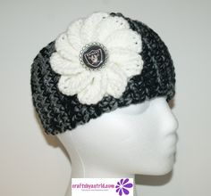 Wide Crochet Headband with Raiders' Button