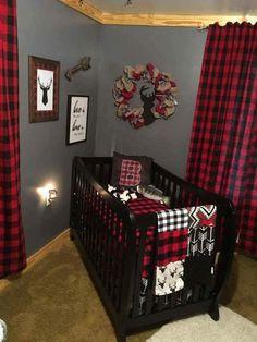 Ready to Ship Boy Crib Bedding - Buck, Buffalo Check, Arrow, Woodland Nursery Collection