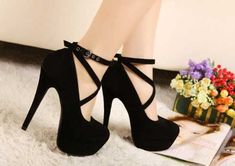 Black shoes are always welcomed by women, especially when these shoes are high heels. Here come a pair of black high heeled shoes with lace up design. These shoes look very trendy and fashionable, and.