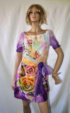 """Купить Платье Батик """" Чайная роза"""" - батик платья, шелковые платья, платья, Батик"""