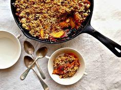 Nectarine-Raspberry Crisp with Quinoa-Almond Topping recipe  via Food Network