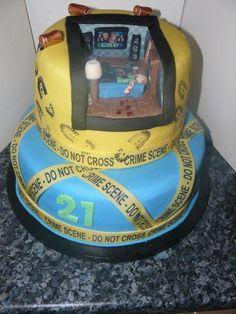 2 tier Cake with in built crime scene