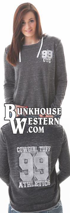 Cowgirl Tuff Company, Gray Athletic Hoodie, Established 99, Never Give Up, Burnout Fleece, Rodeo, Barrel Racing, $54.99, http://www.bunkhousewestern.com/416_p/000416.htm