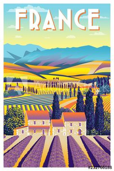 Stock Image: Rural landscape in summer day in Provence, France. Handmade drawing vector illustration. Vintage style poster. Chinese Drawings, National Park Posters, Summer Landscape, Provence France, Landscape Illustration, Sun Illustration, Vintage Travel Posters, Background Vintage, Illustrations Posters