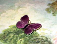 "Vintage Norway Sterling Butterfly Pin, Designer Signed Opro, Lavender Purple Enamel Butterfly Brooch, 1 1/8"" x 7/8"""