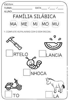 ATIVIDADE PRONTA - FAMÍLIA SILÁBICA M Portuguese Lessons, Karl Marx, Sistema Solar, Kindergarten Worksheets, Pre School, Gabriel, Professor, Literacy