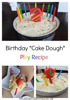Birthday Cake Dough Play Recipe for sensory play on FSPDT