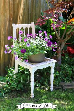 Gardening Container White chair with purple flowers in container - Gallery of ideas for using chairs as garden art - get ideas for your garden. Garden Chairs, Garden Furniture, Retro Furniture, Office Furniture, Furniture Design, Chair Planter, Beautiful Flowers Garden, Garden Pictures, Container Flowers