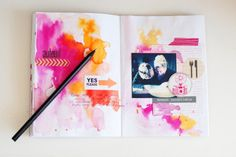 Gorgeous colours, simple journal page by Anna-Maria Wolniak