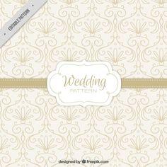 padrão de casamento desenhado à mão com detalhes florais Vetor grátis