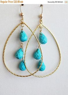 SALE 25% OFF Turquoise earrings Blue earrings Hoop earrings