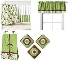 Bacati - Mod Dots Green, Yellow and Chocolate 9 Pc Crib Bedding Set W/o Bumper by Bacati, http://www.amazon.com/dp/B008NKIP7O/ref=cm_sw_r_pi_dp_a9-dsb087K1X1