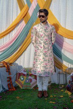 Mens Sherwani, Wedding Sherwani, Dupion Silk, Cotton Silk, Blush Pink, Hand Embroidery, Off White, Digital Prints, Hand Weaving