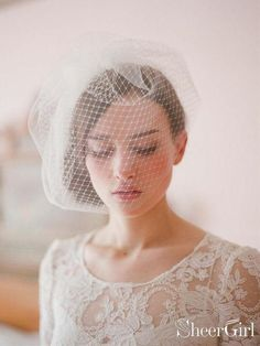 a3b514937206d Vintage-Inspired Ivory Tulle and Mesh Birdcage Veils ACC1088