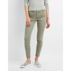 Refuge Braided Skinny Jeans ($25) ❤ liked on Polyvore featuring jeans, olive, patch jeans, skinny tapered jeans, refuge jeans, zipper jeans and patch pocket jeans