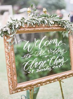 Elegant gold framed mirror wedding sign: http://www.stylemepretty.com/2017/04/13/classic-hong-kong-wedding/ Photography: Hilary Chan - http://www.hilarychanphotography.com/