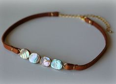 Leather Choker Necklace / Brown Leather / Abalone Shell Resin Beads / Gemstone…
