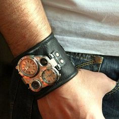 Mens wrist watch leather bracelet Pathfinder Steampunk by dganin