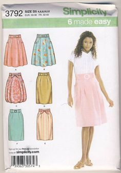 Simplicity 3792 Misses Skirt 6 Styles and by Noahslady4Patterns