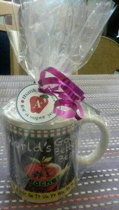 Teacher year end gift.  Mug filled with chocolates.