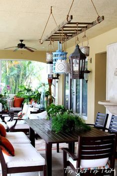 Diy Crafts Ideas : Ladder and Lantern Patio Project