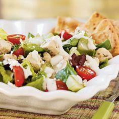 This flavorful Greek chicken salad features fresh Mediterranean ingredients like lemon juice, tahini, olives, tomatoes, cucumber, and...