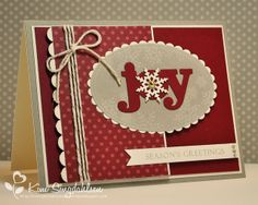 Joy in Cherry and Kraft by atsamom, via Flickr.  For the Merry Monday challenge.  Uses WPlus9 stamps and dies.