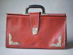 Vintage doctor's bag retro  old big briefcase burgundy by 4Rooms