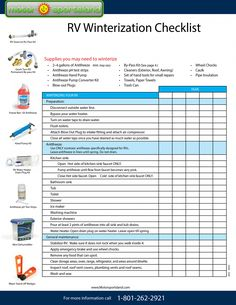 checklist for closing and winterizing the camper - camping checklist,camping checkliste,camping checklist excel