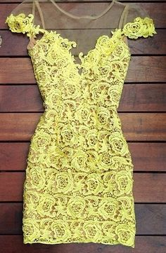Yellow Lace Splicing Mini Dress perfect for a daytime wedding Short Beach Dresses, Sexy Dresses, Cheap Dresses, Yellow Lace Dresses, Maxi Dress With Sleeves, Dress Lace, Cap Sleeves, Lace Skirt, Mellow Yellow