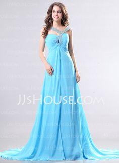 A-Line/Princess V-neck Court Train Chiffon Evening Dresses With Beading (017014268)