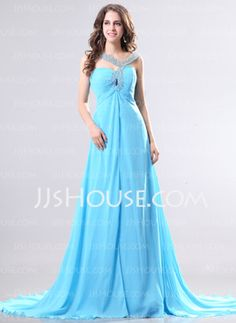 A-Line/Princess V-neck Court Train Chiffon Evening Dresses With Beading (017014268)