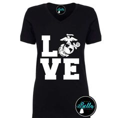 Marine Love V-Neck Tee  ----------------------------  >>Please be sure to check our shop home page for current production and processing times. Everything in our shop is handmade to order so generally orders ship out 5-7 business days depending on volume of orders. >>Please review our exchange and refund policy before completing your purchase. If you ever have any questions about sizing or anything at all, please be sure to send us a convo. We are more than happy to help!  >&gt...