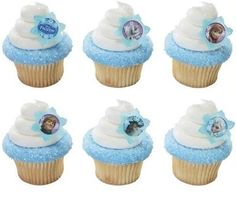 These Disney Frozen Cupcake Rings have the shape of a snowflake and feature six different images of the Frozen characters and logo. These Disney Frozen Cupcake Rings will add that special touch to your cupcakes. Disney Frozen Party, Tarta Frozen Disney, Disney Frozen Anna, Disney Frozen Cupcakes, Frozen Snow, Disney Cakes, Frozen Kids, Frozen Frozen, Frozen Cupcake Toppers