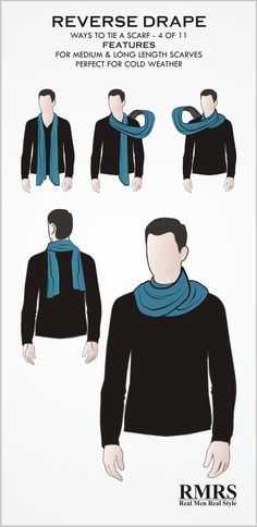 This is a great way to wear a scarf in colder weather. again, you don't really tie this scarf knot, but it provides a lot of protection to the neck. Ways To Tie Scarves, Ways To Wear A Scarf, How To Wear Scarves, Wearing Scarves, Mode Masculine, Mens Scarf Fashion, Scarf Knots, Tie Knots, Men's Pocket Squares