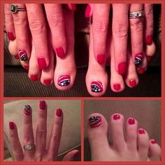 Patriot nail art on natural nails, 2013, love!!